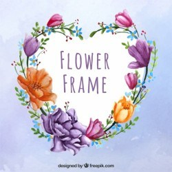 Lovely frame with watercolor flowers