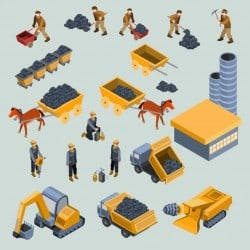 Mine, quarry workers and machines isometric vector